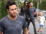 Pete Wentz and girlfriend Meagan Camper dress in matching black goth attire to take his adorable son Bronx out to lunch