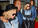 Dinner pour deux: Beyonce and Jay-Z dress in denim and leather as they leave Blue at home for a romantic date night in Paris