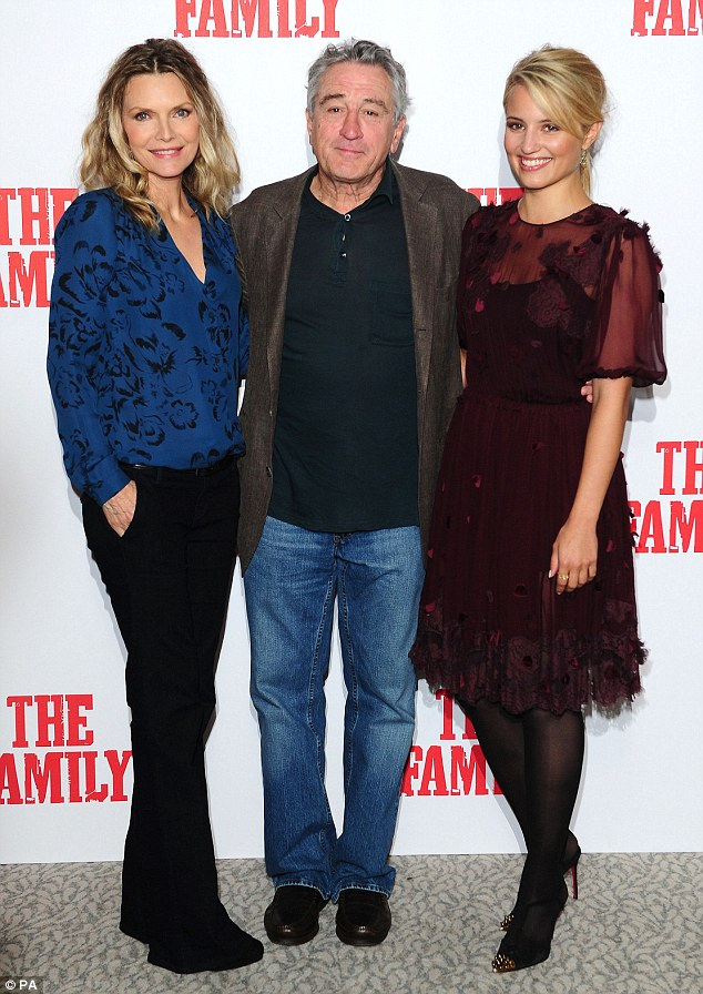 Standing her ground: The One Fine Day star easily passed for co-star Dianna Agron's slightly older sister as the pair posed alongside two-time Oscar-winner Robert De Niro