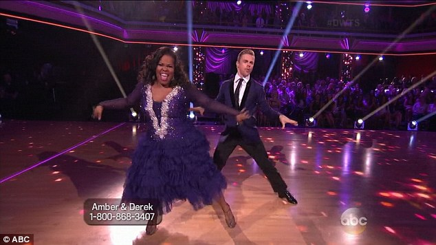 Rousing performance: Amber Riley and Derek Hough did a fun and lighthearted fox trot