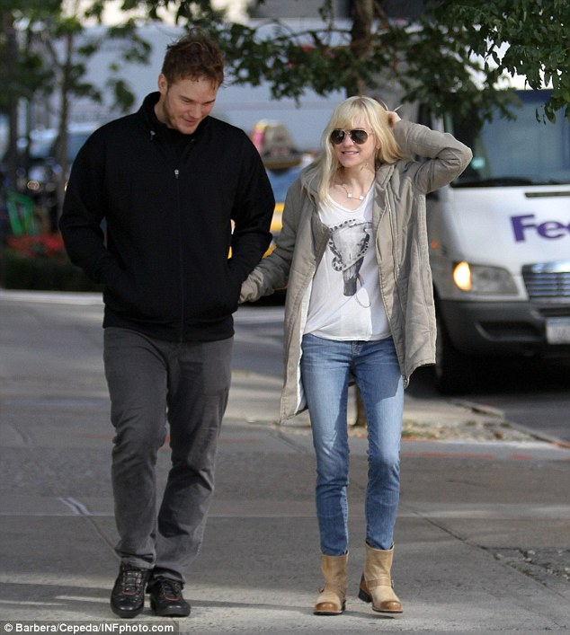 Television's most casual couple: Anna Faris and Chris Pratt looked to have just rolled out of bed for a morning walk in New York City, on Monday