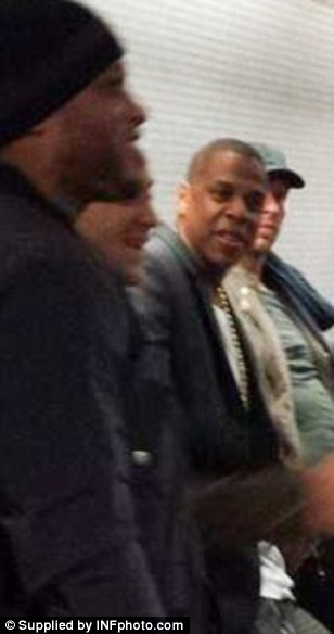 Hanging around: Rapper Jay Z was seen waiting for the tube