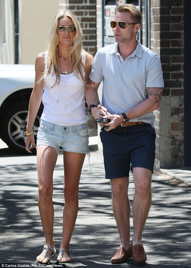 Sporty couple: Ronan Keating and Storm Uechtritz were straight back at the gym on Tuesday, despite having spent the weekend completing the gruelling Tough Mudder endurance course