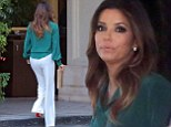 Eva Longoria wears daring white flared trousers and green blouse for lunch at the Four Seasons