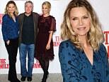 She's still got it! Michelle Pfeiffer, 55, holds her own against co-star half her age at UK press call for new Mafia flick The Family