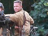 Film set: Brad Pitt and Shia LaBeouf shoot in Oxfordshire for upcoming movie Fury, where a man was stabbed in the shoulder today