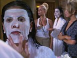 'She's like Jason from Friday the 13th!': Adriana de Moura looks a fright in spooky face mask less than hour before her wedding to Frederic Marq