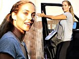 Ready to rehearse: Elizabeth Berkley brought her lunch on Sunday to a Los Angeles studio for Dancing With The Stars rehearsals