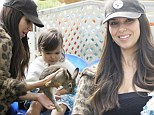 Babies and bunnies: Puerto Rican actress Roselyn Sanchez took her little daughter to a petting zoo Sunday in Los Angeles