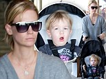January Jones and son Xander fly out of LAX