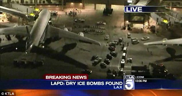 Security scare: A total of four bombs have been found at Los Angeles International Airport in the last two days - two of which exploded