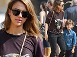 Pumpkin reprise: Jessica Alba takes her daughter, Honor, to a Los Angeles pumpkin patch for the second day in a row