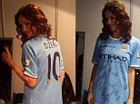 Pose: Severina Vuckovic was delighted with her Manchester City shirt which had Edin Dzeko on the back