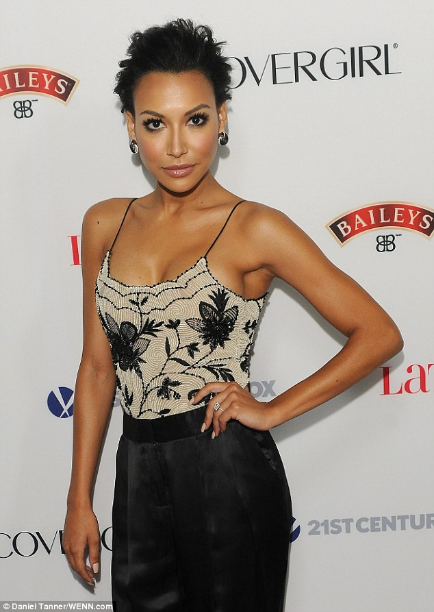 Congratulations! A solo Naya Rivera showcased her diamond engagement ring while attending Latina magazine's Hollywood Hot List Party on Thursday
