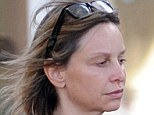 Fresh-faced: 48-year-old Calista Flockhart shows off her flawless skin as she stepped out make-up free in Santa Monica, Los Angeles