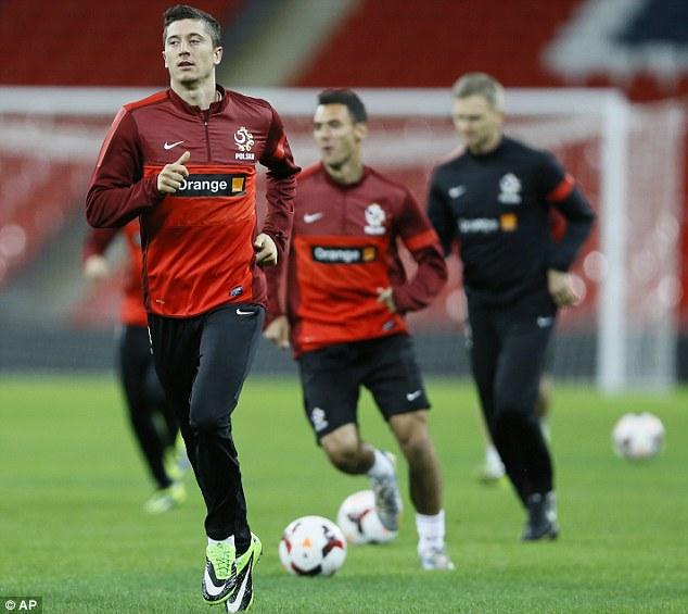 Preparation: Lewandowski training at Wembley ahead of Poland's 2-0 defeat to England