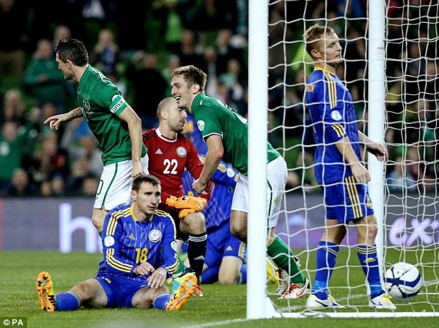 Hero to zero: Kazakhstan goalscorer Dmitriy Shomko nets an own goal to give Ireland a 3-1 win
