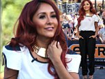 Where's that Jersey girl gone? Snooki is demure in chic black trousers and white shirt for TV appearance