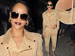 Probably not quite what she had in mind! Rihanna cheekily reveals a glimpse of her underwear in a high fashion creation by Katie Holmes