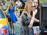 Cara Delevingne chows down on a greasy McDonald's meal in between takes on her DKNY shoot... before returning to her model best in stunning blue dress
