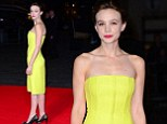 Not so mellow yellow! Carey Mulligan stands out in a neon bright dress for Inside Llewyn Davis premiere