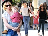 Let's swing Mommy! January Jones' bouncing boy Xander turns a casual errand run into an adventure