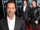 Planning their escape? Sylvester Stallone and Arnold Schwarzenegger appear stilted at the premiere of their latest action flick, Escape Plan