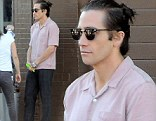 New look: Jake Gyllenhaal filmed a scene for his new movie Nightcrawler on Tuesday with his dark hair tied into a small high bun