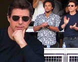 At the ballpark: Tom Cruise and his son Connor on Tuesday stood and cheered during the National League Championship Series game between the St. Louis Cardinals and Los Angeles Dodgers at Dodger Stadium in Los Angeles