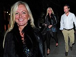 Michelle Mone enjoys dinner date with mystery man in stylish leather-sleeved jacket and sequined top