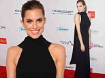 Allison Williams looks breathtaking in black as she highlights her amazing figure at Elton John's AIDS benefit
