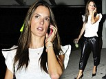 Enjoying the fruits of her labour! Leggy Alessandra Ambrosio struts around in a pair of leather trousers and sips on a bubble tea after gruelling run
