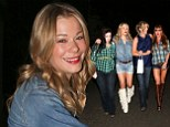 LeAnn Rimes sports cream fringed boots and denim shorts Daisy Duke would be proud of for karaoke night with friends