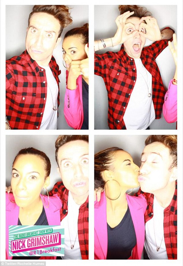 Showbiz chums: Rochelle and Grimmy posed for a series of fun snaps in the Radio 1 'Instagrim' photobooth