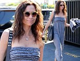 Cool and casual: Minnie Driver wore a striped maxi dress on Wednesday while out for lunch in Los Angeles