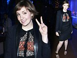 Up to her old tricks! Lena Dunham wears conservative business suit... but can't resist flashing her bra under sheer blouse at charity benefit