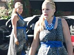 Back to work! Busy Philipps hides her figure in flowing frock on set of Cougar Town three months after giving birth