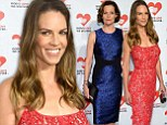 Pretty in patterns! Hilary Swank and Sigourney Weaver are a dazzling twosome in intricate dresses at charity bash