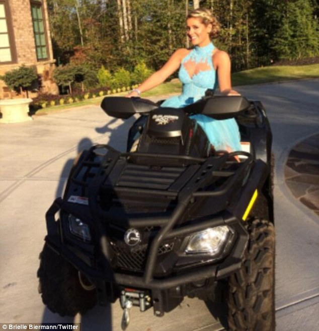 Casual mode: The pretty 16-year-old posted another snapshot of herself riding a vehicle