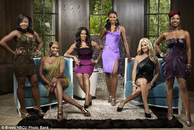 Kim and her costars: The mother of four with season three of her Real Housewives Of Atlanta friends (from left to right) Phaedra Parks, NeNe Leakes, Sheree Whitfield, Cynthia Bailey and Kandi Burruss