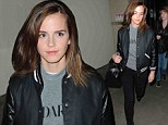 Emma Watson STILL looks stylish as she dresses for comfort in jacket, jumper and jeans to for arrival at LAX
