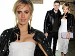 Suki Waterhouse shows some leg in sheer lace dress as she cosies up to Burberry hunk George Barnett at fashion bash