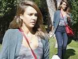Wrapped with a bow: Jessica Alba carried a gift box on Wednesday while out and about in a comfortably chic outfit in Beverly Hills, California