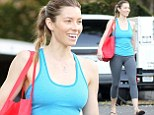 Art imitating life: Jessica Biel shows off her super fit body as she plays a yoga teacher in scenes for new film Shiva & May