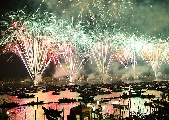 VENICE, ITALY - JULY 20:  Fireworks explode over the St. Mark's Basin for the Redentore Celebrations on July 20, 2013 in Venice, Italy. Redentore, which is in remembrance of the end of the 1577 plague, is one of Venice's most loved celebrations. Highlights of the celebration include the pontoon bridge extending across the Giudecca Canal, gatherings on boats in the St. Mark's Basin and a spectacular fireworks display.  (Photo by Marco Secchi/Getty Images) (Marco Secchi/Getty Images)