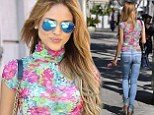Eiza Gonzalez flaunts her midriff in pretty polo neck and figure-hugging jeans as she heads to the nail salon