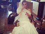 'It's my wedding day!!!!' Kaley Cuoco teases fans with a shotgun wedding as she poses in a gown... but it's just for her new movie