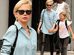 Trousering attention! Michelle Williams draws stares thanks to leather leggings as she takes daughter Matilda to school in NY