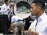 Hot wheels (but bad heels)! Will Smith prepares to film limo scene on set of new con man film... but those trainers aren't impressing anyone