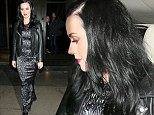 Katy Perry displays thinning hair as she enjoys dinner with a friend in metallic floor-length frock after filming The Graham Norton Show in London